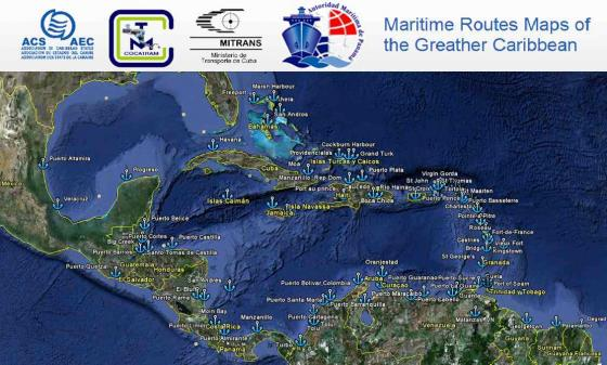 Maps of Maritime Routes of the Greater Caribbean | ACS-AEC Caribbean Maps on